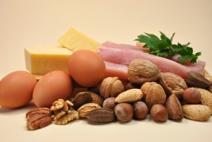 Healthy Diet food group, proteins, include meat (chicken or turk
