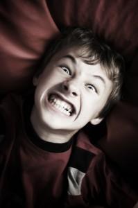 Angry boy portrait